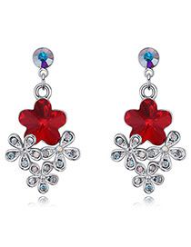 Fashion Red Flower Shape Decorated Earrings