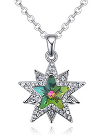 Fashion Green Star Shape Decorated Necklace