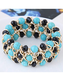 Vintage Black+blue Color-matching Decorated Bracelet