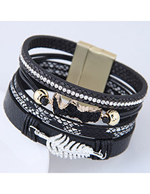 Personality Black Metal Leaf Shape Decorated Multilayer Bracelet