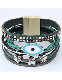 Personality Green Eye Shape Decorated Multilayer Bracelet