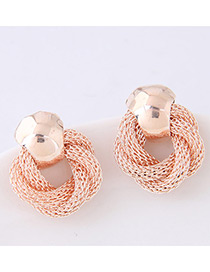 Elegant Gold Color Pure Color Decorated Earrings