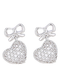Lovely Silver Color Heart Shape Decorated Earrings