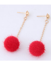 Fashion Plum Red Pure Color Decorated Pom Earrings