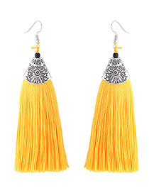 Fashion Yellow Long Tassel Decorated Simple Earrings