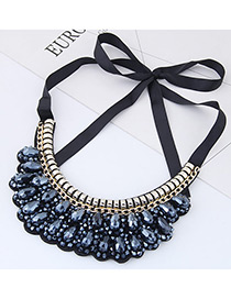 Trendy Dark Blue Pure Color Decorated Collar Necklace