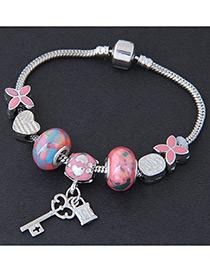 Elegant Pink Lock Pendant Dcorated Bracelet