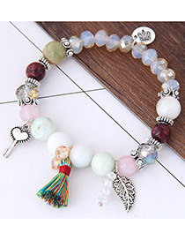 Elegant Multi-color Tassel&leaf Decorated Bracelet
