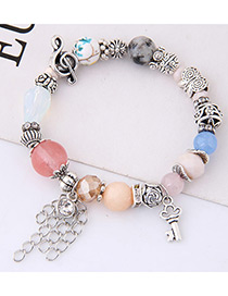 Elegant Multi-color Lock&chains Dcorated Bracelet