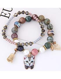Elegant Olive Cat&leaf Decorated Double Layer Bracelet