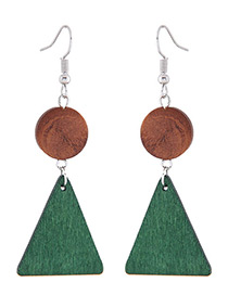 Fashion Gree+brown Triangle Shape Decorated Long Earrings