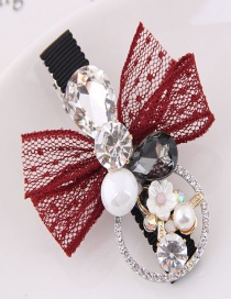 Lovely Red Pearls Decorated Bowknot Design Hairpin
