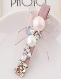Lovely Pink Diamond&pearl Decorated Bowknot Design Hairpin
