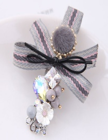 Lovely Gray Bowknot&flower Decorated Hairpin