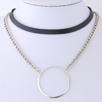Fashion Silver Color+black Circular Ring Shape Decorated Choker