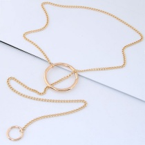 Fashion Gold Color Circular Ring Shape Decorated Choker