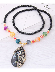 Fashion Gray Water Drop Shape Pendant Decorated Necklace