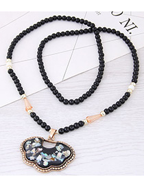 Fashion Black Longevity Lock Pendant Decorated Long Necklace