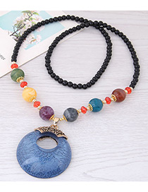 Fashion Blue Hollow Out Round Shape Decorated Necklace