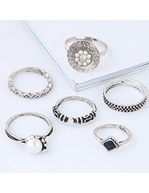 Fashion Silver Color Pearl&diamond Decorated Flower Shape Ring (6pcs)