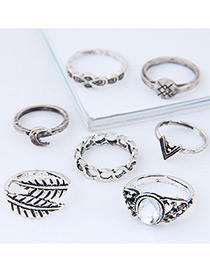 Fashion Antique Silver Leaf&flower Shape Decorated Ring (7pcs)