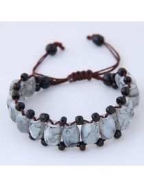 Fashion Gray Beads Decorated Pure Color Bracelet