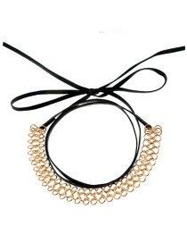 Fashion Gold Color+black Circular Ring Decorated Hollow Out Choker