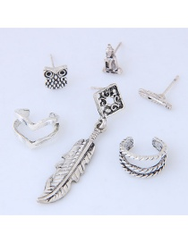 Fashion Antique Silver Leaf&feather Decorated Pure Color Earrings (6pcs)