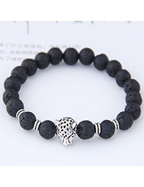 Elegant Black Leopard Shape Decorated Bracelet