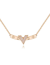Elegant Gold Color V Shape Decorated Necklace