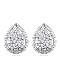 Elegant Silver Color Waterdrop Shape Decorated Earrings