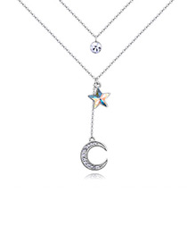 Elegant Multi-color Moon Shape Decorated Double-layer Necklace