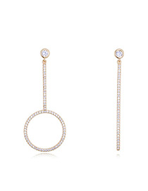 Elegant Gold Color Round Shape Decorated Earrings