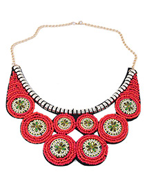 Bohemia Red Round Shape Decorated Necklace