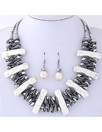 Fashion White Vertical Shape Decorated Jewelry Set
