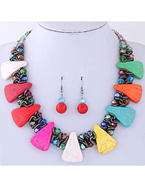 Fashion Multi-color Triangle Shape Decorated Jewelry Set
