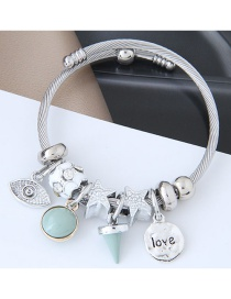 Fashion Silver Color+green Star&eye Shape Decorated Bracelet