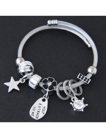 Fashion Silver Color+black Flower&star Shape Decorated Bracelet