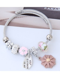 Fashion Pink+silver Color Flower Shape Decorated Bracelet