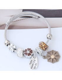 Fashion Silver Color+light Coffee Flower Shape Decorated Bracelet