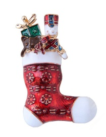 Fashion Red Boots Shape Decorated Christmas Brooch