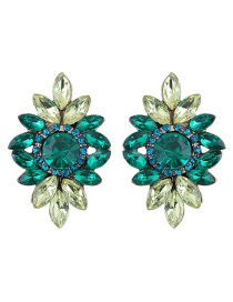 Fashion Green Diamond Decorated Flower Shape Earrings