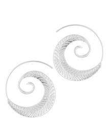 Trendy Silver Color Leaf Shape Decorated Pure Color Earrings