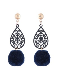 Trendy Navy Fuzzy Ball Decorated Hollow Out Earrings
