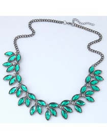 Trendy Green Gemstone Decorated Leaf Shape Necklace