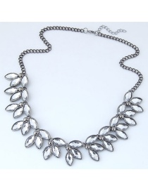 Trendy White Gemstone Decorated Leaf Shape Necklace