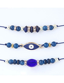 Trendy Sapphire Blue Eyes Shape Decorated Adjustable Bracelet (3pcs)