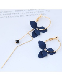 Elegant Blue Flower Shape Decorated Earrings