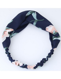 Fashion Navy Flower Pattern Decorated Headband