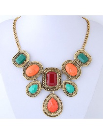 Fashion Green+orange Geometric Shape Decorated Necklace